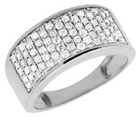 10k White Gold Mens Round Genuine Diamond Engagement Wedding Ring Band 1.20ct