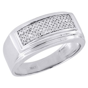 10k White Gold Mens Round Pave Diamond Square Fashion Pinky Ring Band 0.24 Ct.