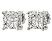 10k White Gold Princess Cut Ice Cube Genuine Diamond Stud Earrings 1.25 Ct 9mm