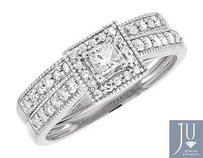 10k White Gold Princess Diamond Milgrain Bridal Engagement Ring Set 0.50ct