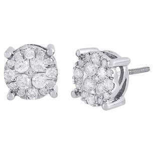 10k White Gold Round Diamond Solitaire Look Flower Cluster Stud Earring 1.25 Ct.