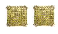 Other 10k Yellow Gold 10mm Square Dome Round Canary Diamond Stud Earring 0.75ct.