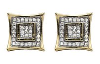 10k Yellow Gold 8mm Curve Square Kite Genuine Real Diamond Stud Earrings 14ct.