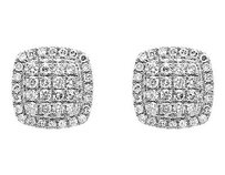 10k Yellow Gold 9mm Square Dome Cluster Genuine Diamond Stud Earring 1.25ct.