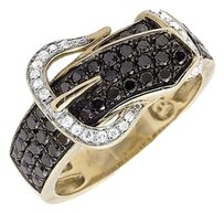 Other 10k Yellow Gold Belt Buckle Black And White Diamond Statement Band Ring 1.20ct.
