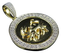 Other 10k Yellow Gold Crab Cancer Zodiac Medallion Genuine Diamond Pendant 0.60ct 1.6