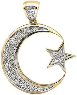 Other 10k Yellow Gold Crescent Moon Star 1.75 Inch Diamond Pendant Charm 0.50ct.