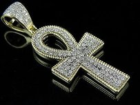 10k Yellow Gold Egyptian Ankh Rope Borders Real Diamond Pendant 1.4 .50ct