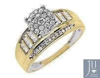 10k Yellow Gold Flower Round-cut And Baguette Diamond Engagement Ring 34ct.