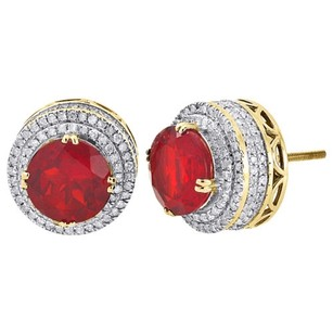 Other 10k Yellow Gold Genuine Round Diamond Gemstone Earrings Halo 3d Stud 0.88 Ct.