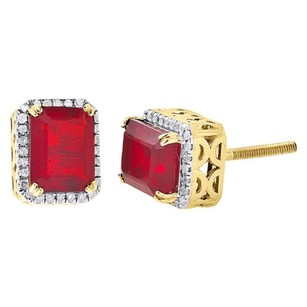 10k Yellow Gold Genuine Round Diamond Ruby Gemstone Earrings Halo Stud 0.20 Ct
