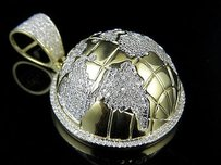10k Yellow Gold Half 3d Globe Genuine Diamond Charm Pendant 2ct 1.6