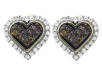 Other 10k Yellow Gold Heart Brown Cognac And White 10mm Diamond Earring Stud 0.25ct