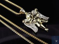 10k Yellow Gold In-flight Angel 1 Inch Diamond Pendant Charm 0.15ct. With Chain