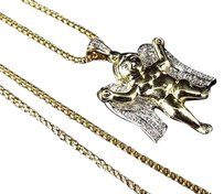 Other 10k Yellow Gold In-flight Angel 1 Inch Diamond Pendant Charm 0.15ct. With Chain