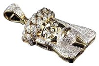 10k Yellow Gold Jesus Cuban Link Crown Diamond 1.25 Inch Pendant Charm 0.85ct.