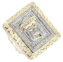 Other 10k Yellow Gold Jesus Rectangle Nugget Frame 3d Genuine Diamond Ring 1.50ct