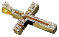 10k Yellow Gold Jesus Written Cross Genuine Diamonds Charm Pendant 1.15 Ct