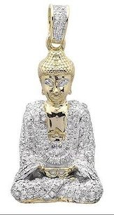 10k Yellow Gold Meditation Buddha Siddhartha 1 Inch Diamond Charm Pendant 1.0ct.