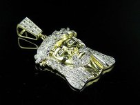 10k Yellow Gold Mens Jesus Face Genuine Diamond Pendant Charm .80ct 1.6