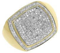 Other 10k Yellow Gold Mens Round Pave Diamond Square Top Fashion Pinky Ring 1 Ct