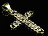 10k Yellow Gold Miami Cuban Link Cross Genuine Diamond Pendant Charm 0.75ct 2.7