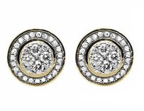 Other 10k Yellow Gold Round 10mm Halo Flower Genuine Diamond Stud Earrings 0.75ct.