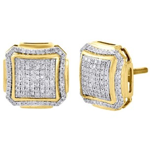 10k Yellow Gold Round Diamond Studs Pave Set Domed Square Earrings 0.55 Ct.