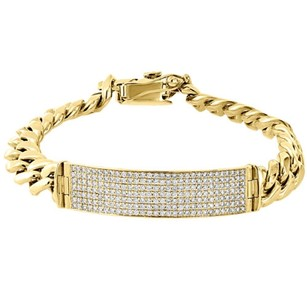 10k Yellow Gold Solid Miami Cuban Link Bracelet Mens Pave Diamond Id 8.70 Ct.