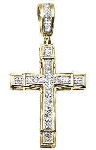 Other 10k Yellow Gold Vintage Weave Style Cross Pave Diamond 1.25 Pendant Charm .40ct