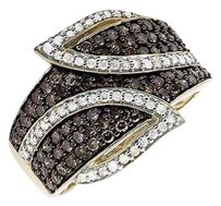 10k Yellow Gold Wide Leaf White And Cognac Brown Real Diamond Band Ring 1.0ct.