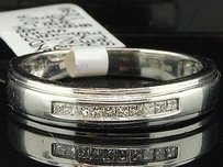 10k Mens White Gold Princess Cut Diamond Engagement Ring Wedding Band Set .15 Ct