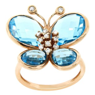 Other 12.00ct Blue Topaz 14k Rose Gold And Diamond Butterfly Ring 5-8