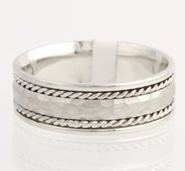 Mens Wedding Band - 14k White Gold Solid Hammered Ring Round Textured Love