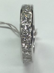 14 K White Gold Princess Cut Wedding Band With Diamonds