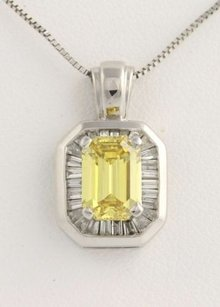 Other 1.40ct Fancy Vivid Yellow Diamond Pendant Necklace - 14k White Gold Emerald Cut