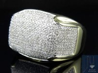 Mens 10k Yellow Gold Pave Genuine Diamond Dome Puff Pinky Ring 1.5ct