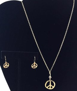 Other 14k 1420 Gold Filled Silver Peace Symbolnecklace And Earrings 18