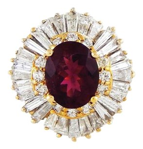 14K Gold Ballerina Ring with Red Tourmaline and Diamonds