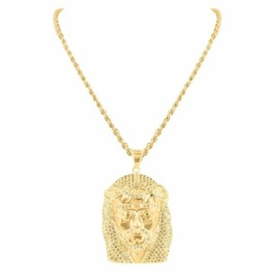 14k Gold Finish Jesus Charm Stainless Steel Chain Simulated Diamonds Unisex