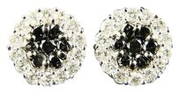 14k Ladies White Gold Blackwhite Flower Diamond Stud Earrings 2.0 Ct
