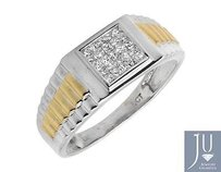 14k Two-tone Gold Princess Invisible Diamond Step Shank Engagement Ring 0.25ct