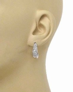 Other 14k White Gold 1.0ctw Round Cut Diamond Oval Huggie Earrings