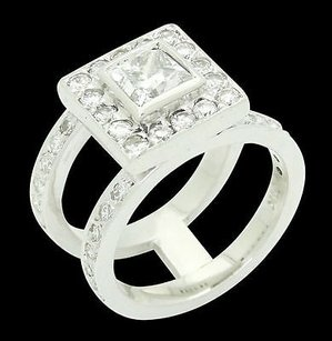 Other 14k White Gold 1.90 Ct Tcw Princess Center Diamond Custom Made Double Ring R454