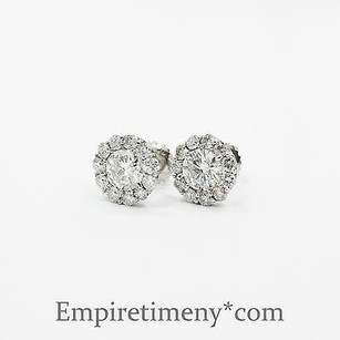 14k White Gold 2ct Diamonds Round Cut Pave Bezel Stud Earrings Screw-back