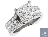 14k White Gold 3d Invisible Princess Genuine Round Diamond Engagement Ring 5.0ct