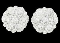 14k White Gold Apx. Tcw I1 H Round Cut Diamond Cluster Stud Earrings E262