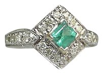 14k White Gold Aqua Emerald Stone Diamonds Ladies Ring