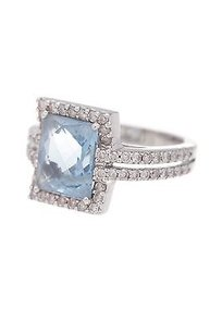 14k White Gold Diamond Blue Topaz Cocktail Ring Size 5.5
