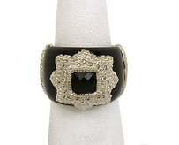 Other 14k White Gold Diamonds Black Onyx Ladies Wide Dome Bandring